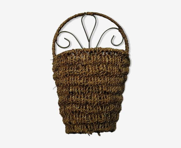 Ancien présentoir de fleuriste en osier, paille tressé, armature en métal