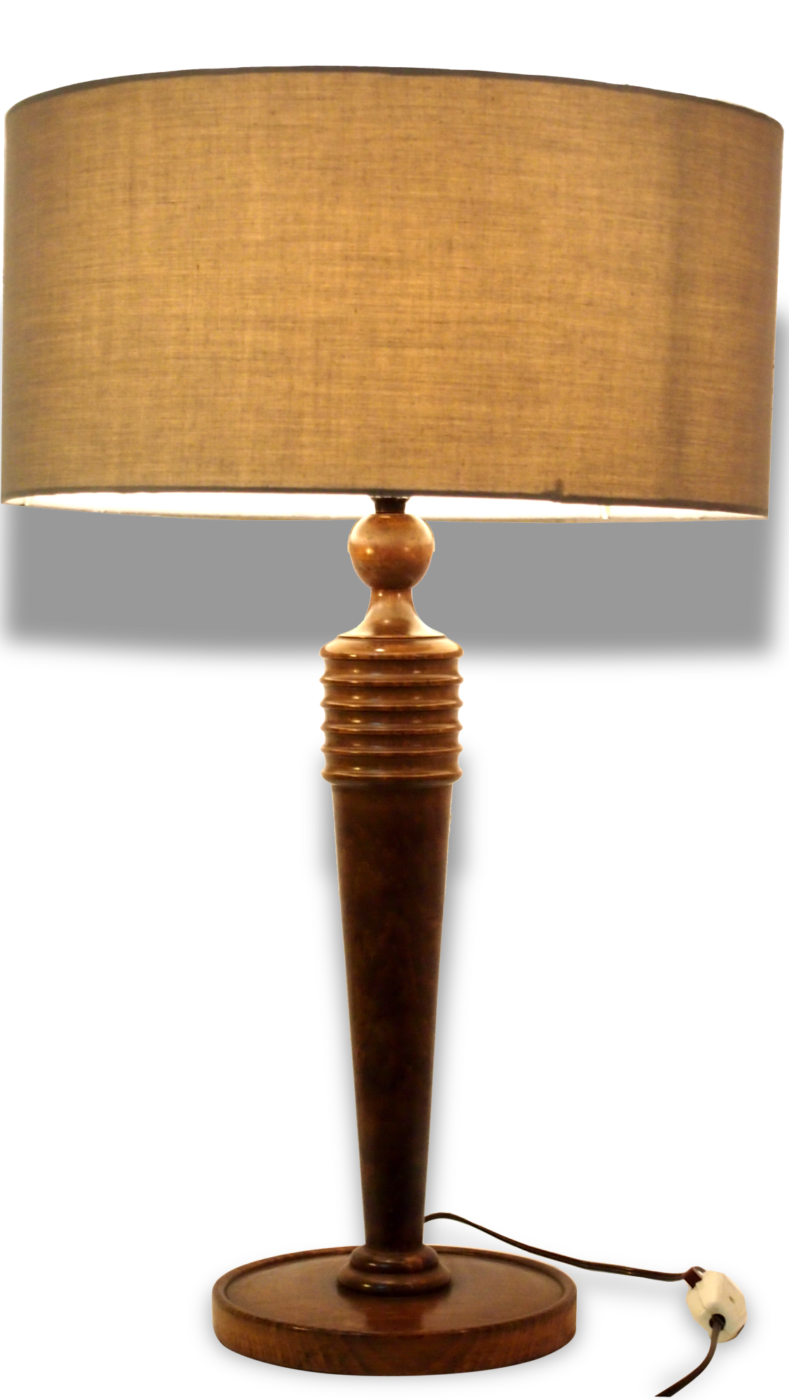 Lampe table bureau acajou art deco mid century moderniste bois