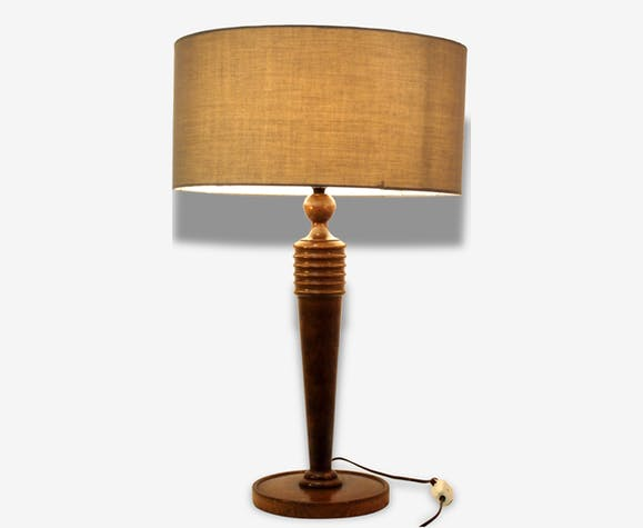 31 lampe table bureau acajou art deco mid century moderniste bois