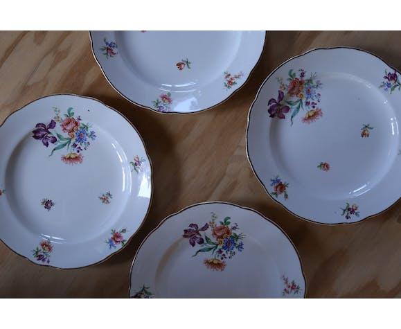 4 assiettes fleuries Digoin & Sarreguemine