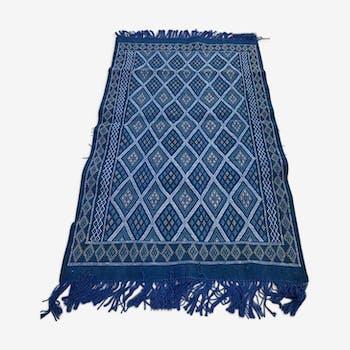 Tapis kilim bleu fait main berbère traditionnel - 200x120cm