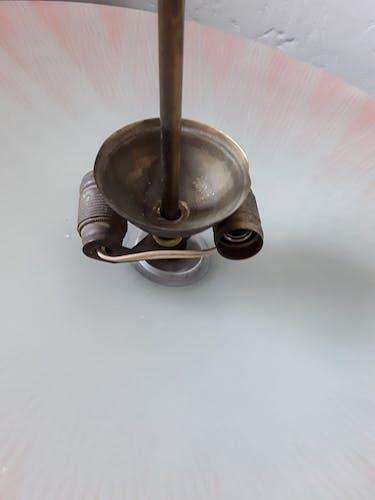 Suspension en verre et métal doré années 50/60