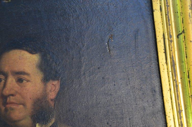 Portrait XIXème huile sur toile peinture signé Eugène Renouard 1866