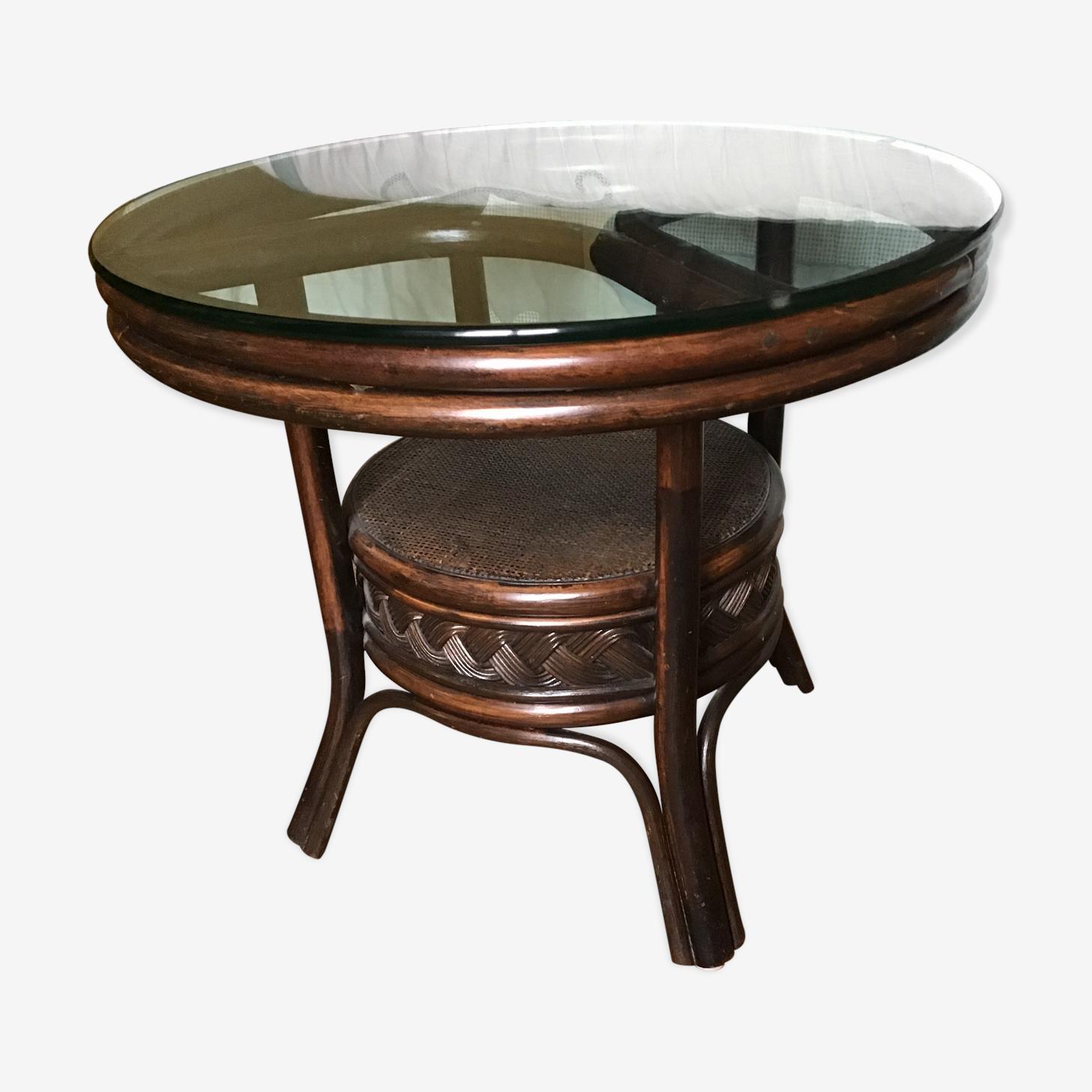 Table basse bambou et rotin