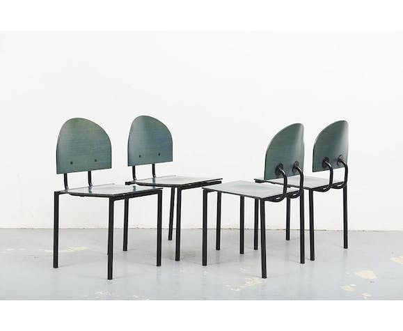 Memphis 80's style green wooden chairs