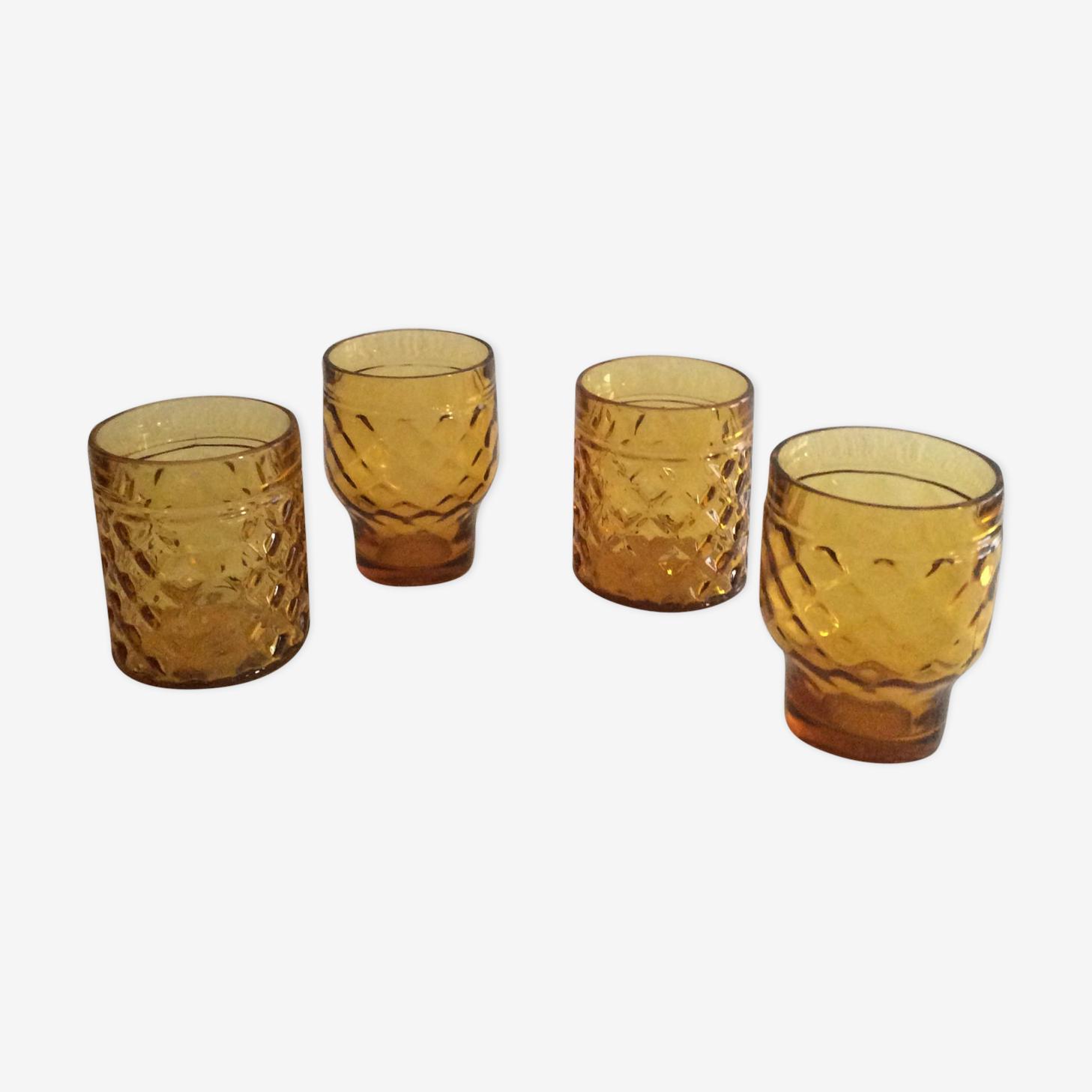 4 amber pineapple glasses, vintage