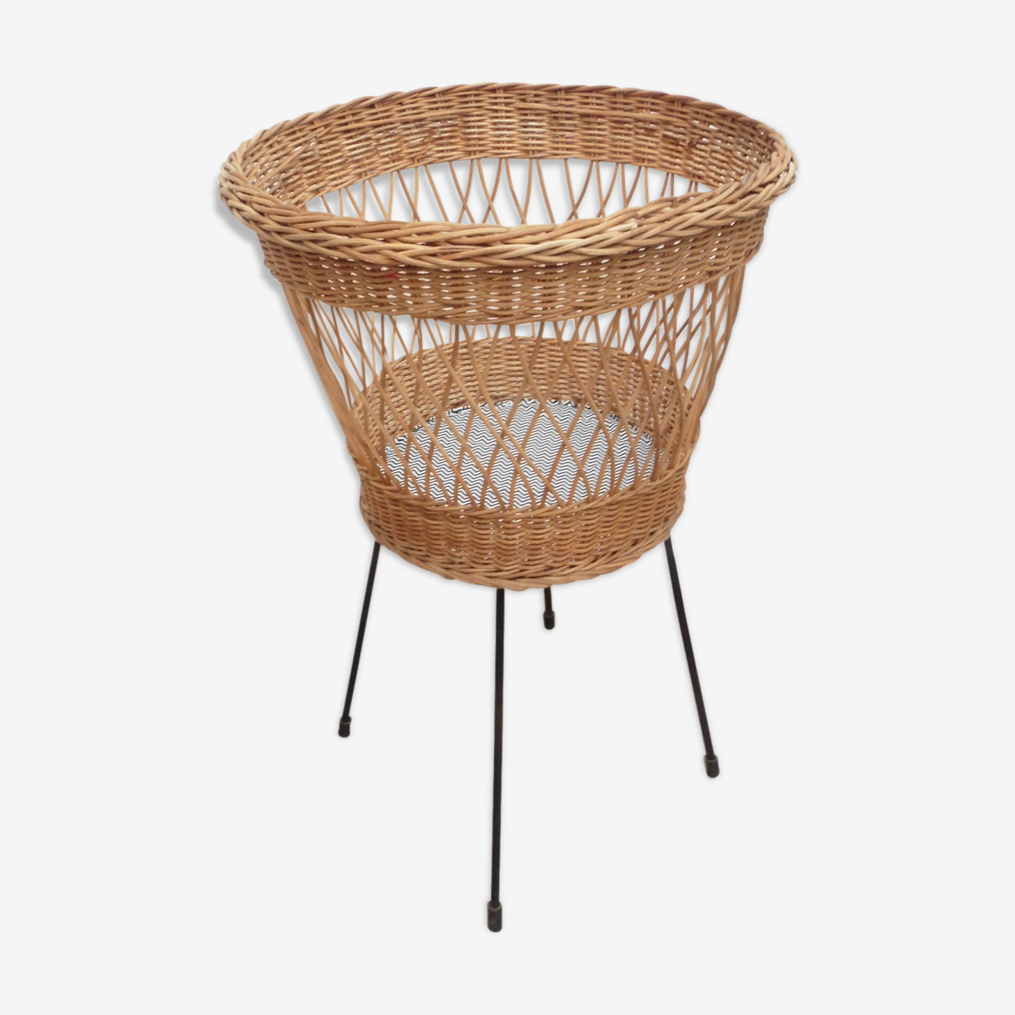 Wicker and metal sewing basket