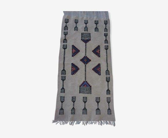Tapis kilim beige fait main en pure laine 60x125cm