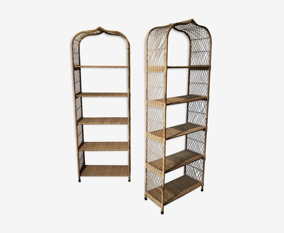 best service d3ea3 4dc7a Pair of wicker bookcase - rattan and wicker - beige ...