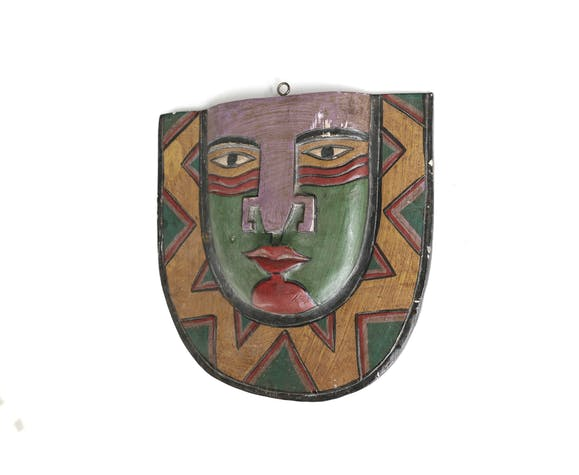 Masque mural multicolore en bois, années 80