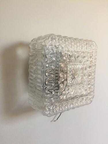 70's square glass ceiling light