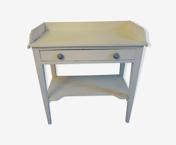 Table de toilette coiffeuse ancienne en bois peint