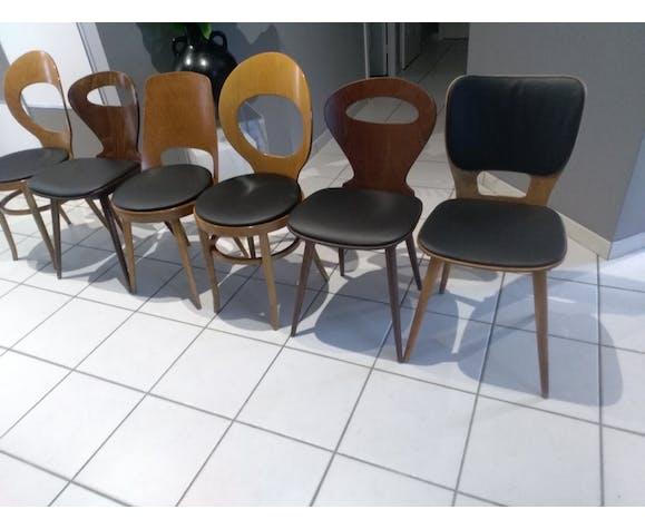 Suite de 6 chaises bistrot Baumann dépareillées Mondor Fourmi Mouette Max bill