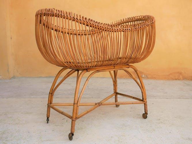 Vintage rattan cradle