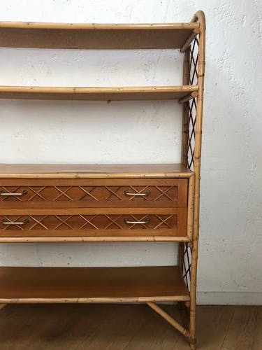 Vintage rattan bookcase years 60