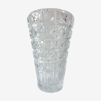 1970 chiseled glass vase