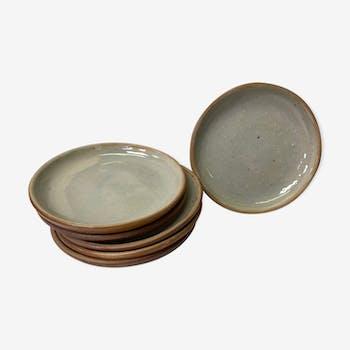Set of 6 vintage sandstone dessert plates
