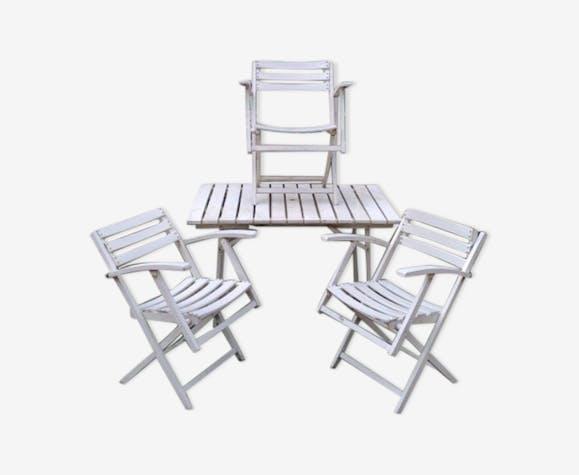 Salon de jardin pliant en bois - bois (Matériau) - blanc ...
