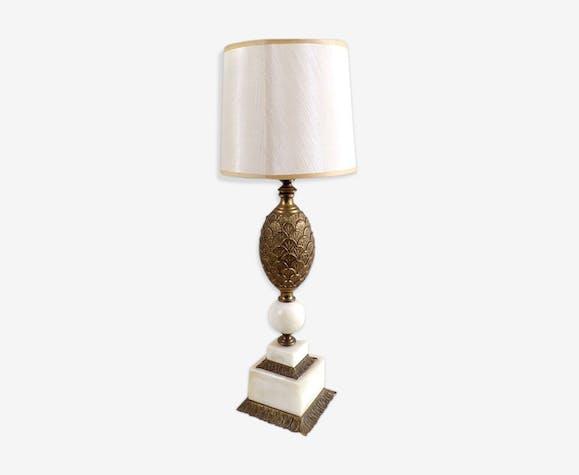 Pied De Lampe Vintage En Bronze Et Marbre Blanc Ananas Bronze