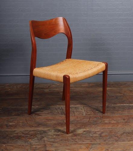 Ensemble de 8 chaises de salle à manger en teck du milieu du siècle, modèle 71 de Neils Moller