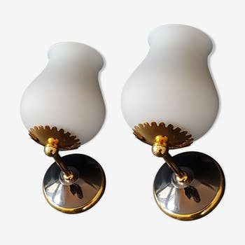 Pair of vintage wall lights, 1950