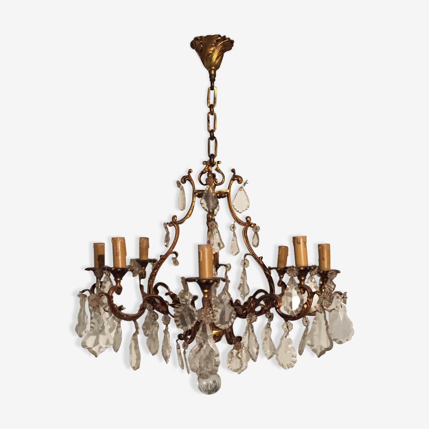Bronze chandelier in crystal 1950