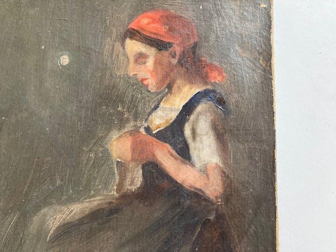 Portrait de la jeune fille à l'ouvrage huile sur toile 19e
