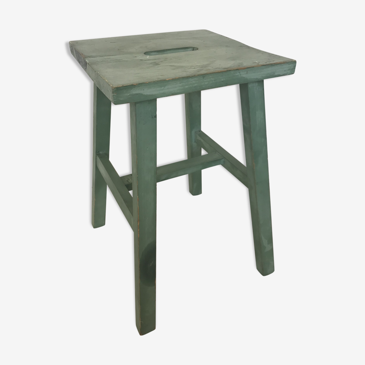 Green wooden stool