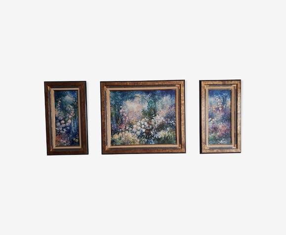 Triptyque « fleurs du jardin »