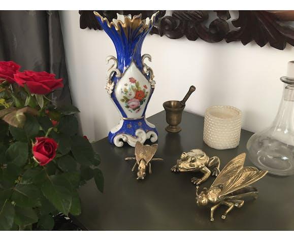 Vase de mariée porcelaine Paris époque Louis Philippe - Décor de fleur