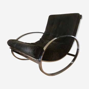 Ellipse Chrome Plated Metal Rocking Chair By Renato Zevi For Selig, 1970s
