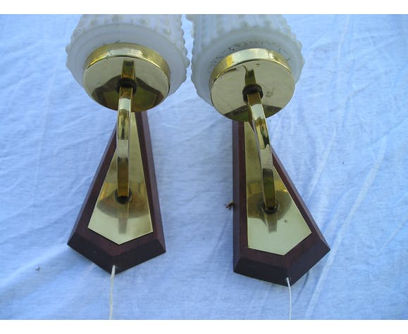 Pair of vintage glass, brass and wood of the 1970s