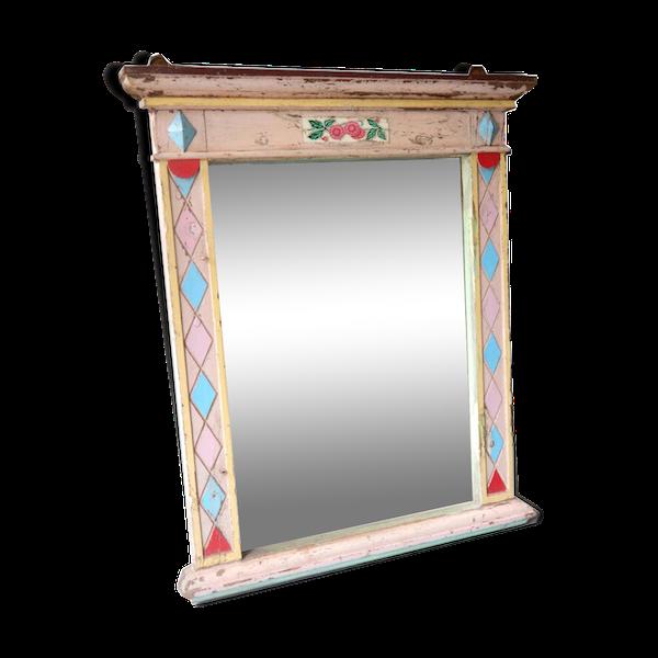 Miroir rose à suspendre bois vieux teck 70x84cm