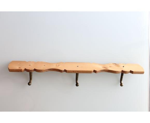 Porte manteau vintage industriel en bois et métal 3 patères