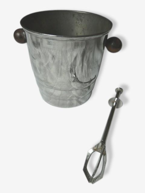Seau à glaçons en métal chromé et ebène de macassar et pince