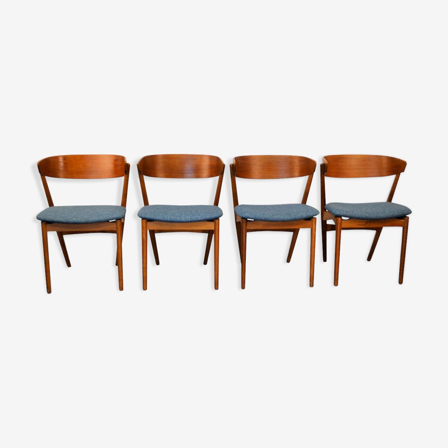 Ensemble de 4 chaises en  teck par Helge Sibast