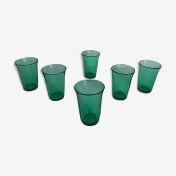 Set of 6 glasses green vintage smoked Huilor 70