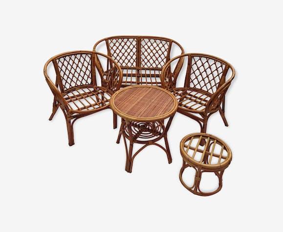 Salon de jardin ou d\'intérieur en bambou et rotin des années 60 ...