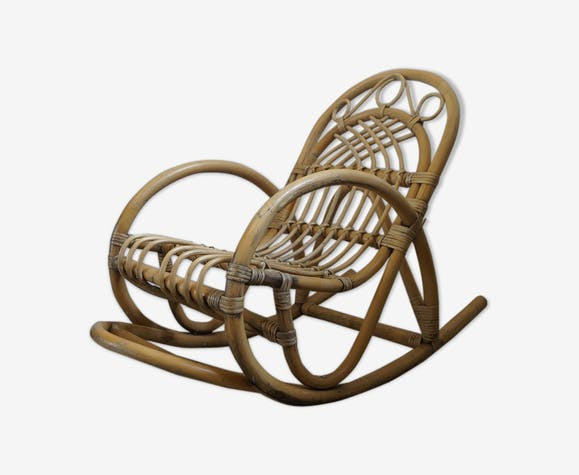 Rocking-chair 1960 en rotin