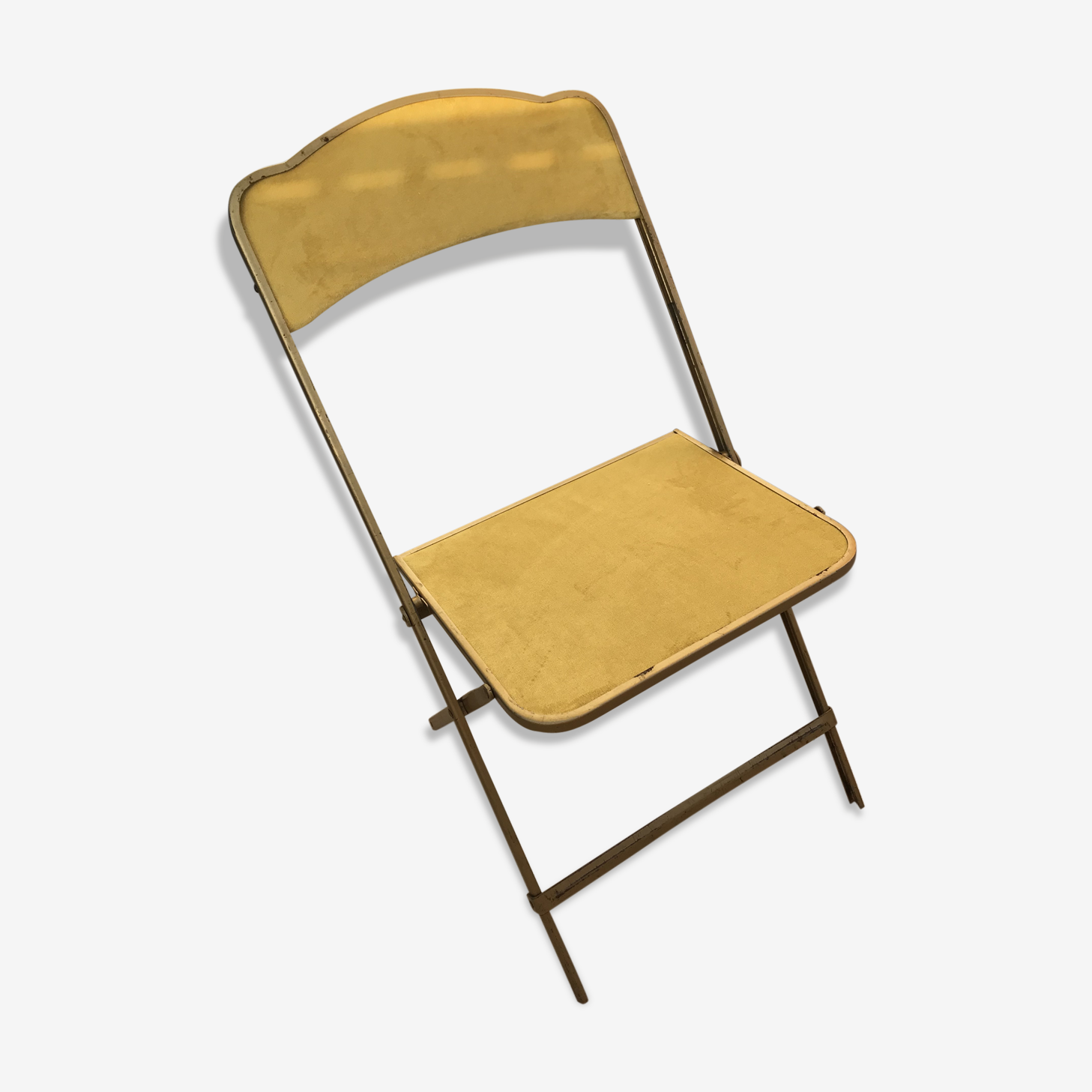 Chaise pliante en velours et laiton