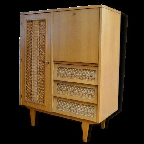 Armoire Secretaire Bois Et Rotin Des Annees 60 Vintage Wood