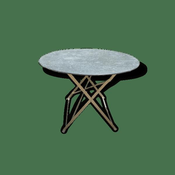 Ancienne table de jardin pliante - fer - gris - industriel - 140261