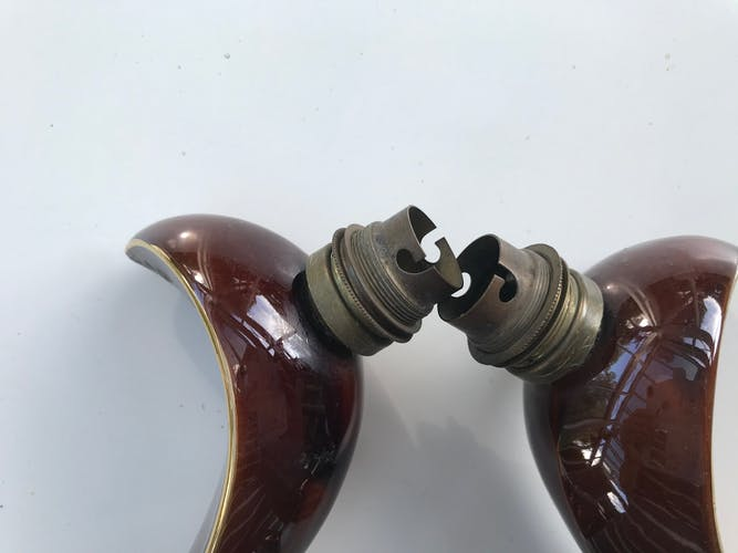 Ancienne paire d'appliques en céramique années 50