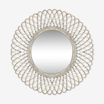 Natural braided rattan mirror diameter 58 cm