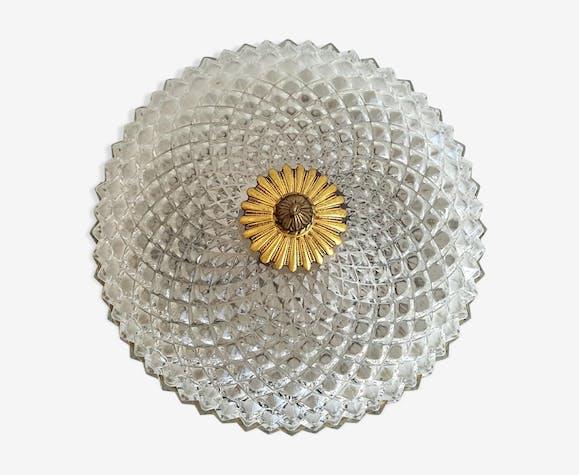 Plafonnier années 70 en verre taillé pointes de diamant