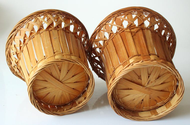 Set of 2 rattan planter 1970