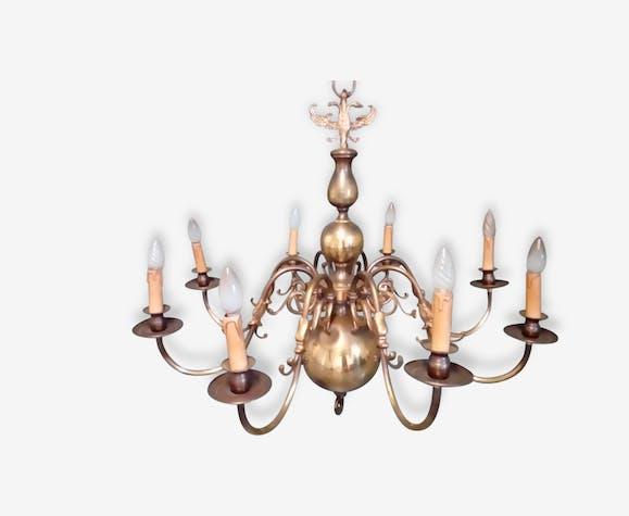Lustre bronze 8 branches style hollandais