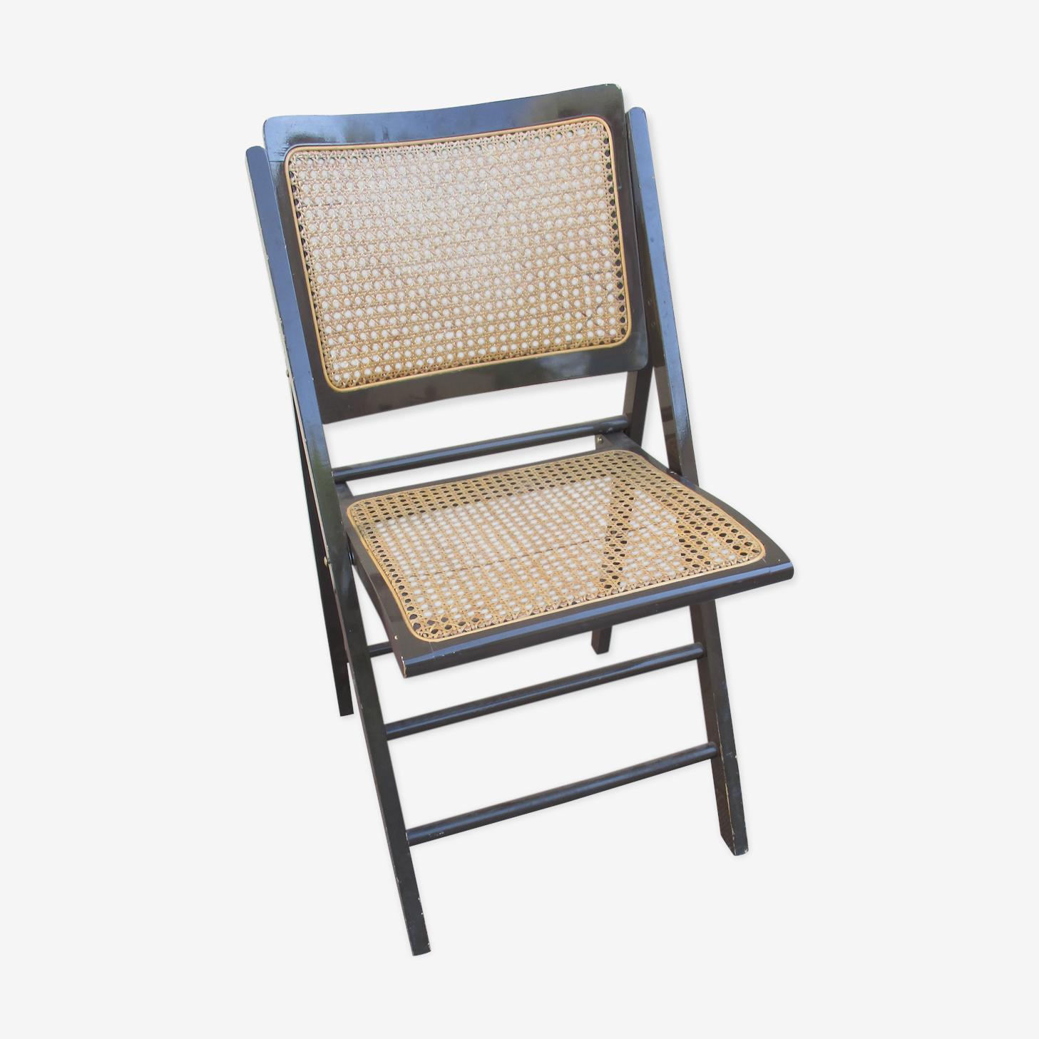 Chaise pliante cannée bois vintage année 60 model hema