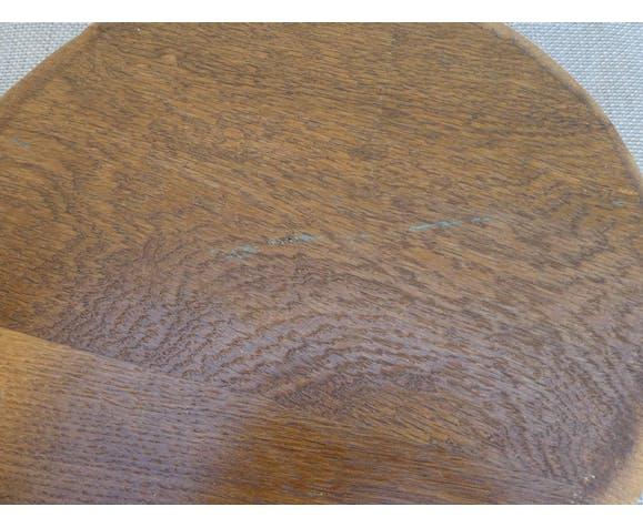 Tabouret tripode en métal et assise bois massif