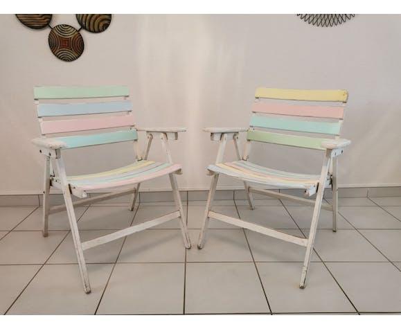 Suite de 4 fauteuils bois de jardin pliant années 70